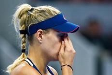 Tennis - China Open Women's Singles Third Round - Beijing, China - 06/10/16. Angelique Kerber of Germany reacts during her match against Elina Svitolina of Ukraine. REUTERS/Thomas Peter