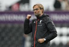 Britain Soccer Football - Swansea City v Liverpool - Premier League - Liberty Stadium - 1/10/16 Liverpool manager Juergen Klopp celebrates after the game  Action Images via Reuters / John Sibley Livepic