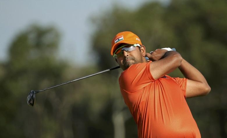 2016 Rio Olympics - Golf - Men's Individual Stroke Play - Olympic Golf Course - Rio de Janeiro, Brazil - 13/08/2016. Anirban Lahiri (IND) of India hits his tee shot on the third hole during the third round of the men's Olympic golf compeititon. REUTERS/Andrew Boyers