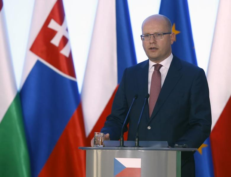 Czech Republic's Prime Minister Bohuslav Sobotka speaks during the news conference in Warsaw, Poland, August 26, 2016. REUTERS/Kacper Pempel