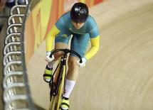 2016 Rio Olympics - Cycling Track - Preliminary - Women's Sprint Qualifying - Rio Olympic Velodrome - Rio de Janeiro, Brazil - 14/08/2016. Anna Meares (AUS) of Australia competes. REUTERS/Paul Hanna