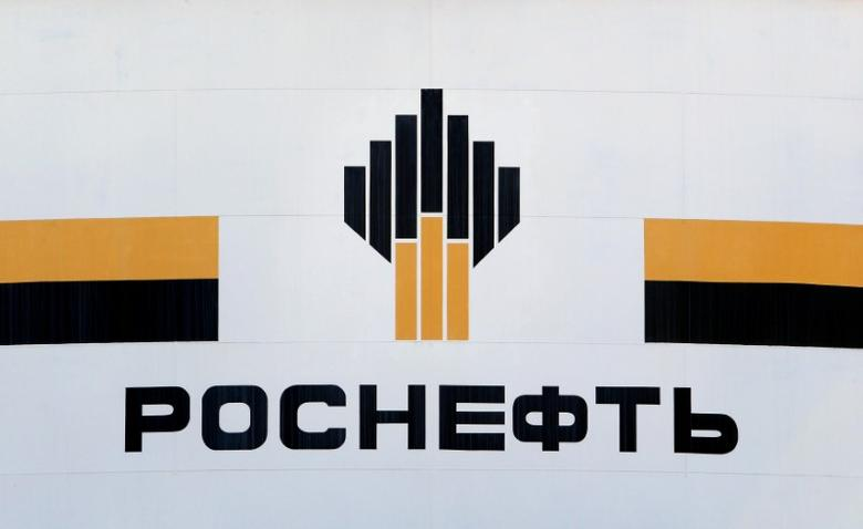 The logo of Russia's Rosneft oil company is pictured at the central processing facility of the Rosneft-owned Priobskoye oil field outside the West Siberian city of Nefteyugansk, Russia, August 4, 2016. REUTERS/Sergei Karpukhin/Files