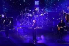 Phil Collins se apresenta em cerimônia de abertura do Aberto dos EUA de tênis. 29/8/2016.  Geoff Burke-USA TODAY Sports