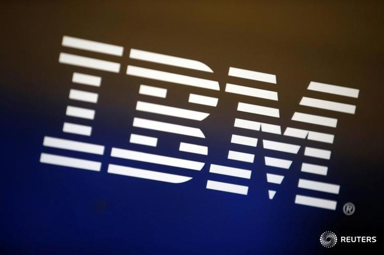 The logo of IBM is seen on a computer screen in Los Angeles, California, United States, April 22, 2016. REUTERS/Lucy Nicholson/File Photo - RTSGC7T
