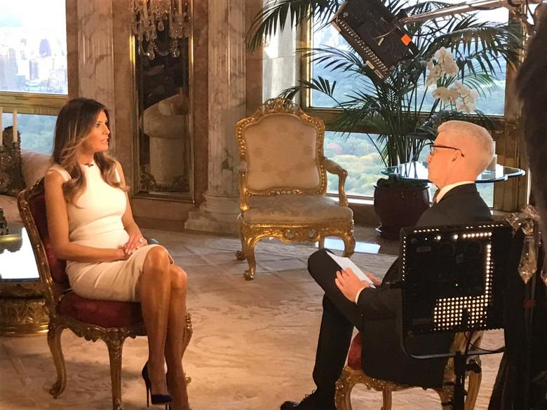 Melania Trump sits down with CNN television host Anderson Cooper during an exclusive interview in New York. Courtesy CNN/Handout via REUTERS