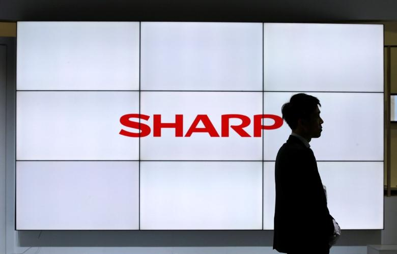 A logo of Sharp Corp is pictured at CEATEC (Combined Exhibition of Advanced Technologies) JAPAN 2016 at the Makuhari Messe in Chiba, Japan, October 3, 2016.   REUTERS/Toru Hanai