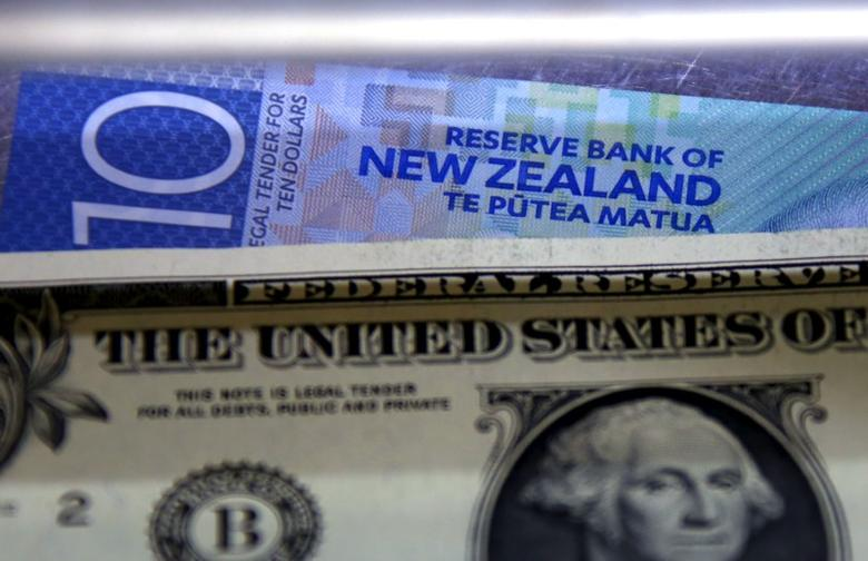 A New Zealand ten dollar note sits underneath a United States one dollar bill in the window of a currency exchange teller in Sydney, Australia, March 10, 2016.     REUTERS/David Gray/File Photo