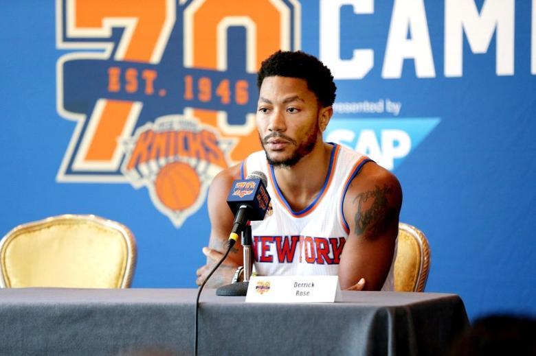 New York Knicks point guard Derrick Rose addresses the media during the New York Knicks Media Day at Ritz-Carlton. Mandatory Credit: Andy Marlin-USA TODAY Sports