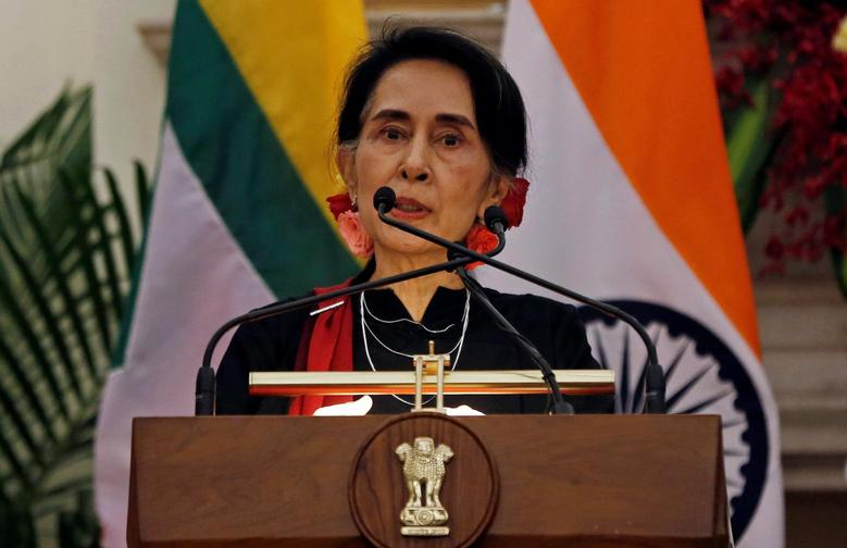 Myanmar's State Counsellor Aung San Suu Kyi reads a joint statement with India's Prime Minister Narendra Modi (not pictured) at Hyderabad House in New Delhi, India October 19, 2016. REUTERS/Adnan Abidi
