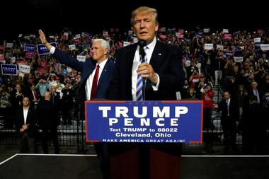 Trump and Pence hold a campaign rally in Cleveland, Ohio