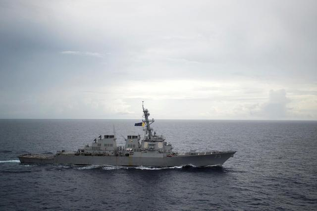FILE PHOTO: Guided-missile destroyer USS Decatur (DDG 73) operates in the South China Sea as part of the Bonhomme Richard Expeditionary Strike Group (ESG) in the South China Sea on October 13, 2016. Courtesy Diana Quinlan/U.S. Navy/Handout via REUTERS/File photo