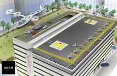 A vertical takeoff and landing aircraft (VTOL) leaves a heliport in an artist's rendition released by ride-sharing company Uber in San Francisco, California, U.S. October 27 2016.  Uber/Handout via REUTERS