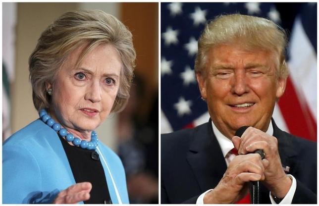 11月2日、ロイター/イプソスがに公表した米大統領選に関する世論調査によると、民主党候補ヒラリー・クリントン氏(写真右)の支持率が共和党候補ドナルド・トランプ氏(左)を6%ポイント上回った。5月撮影(2016年 ロイター/Lucy Nicholson (L) and Jim Urquhart)