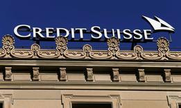 Logo del banco Suizo Credit Suisse en Zurich, Switzerland3 de Noviembre, 2016. Credit Suisse reportó una inesperada ganancia neta de 41 millones de francos suizos (42,2 millones de dólares) para el tercer trimestre y dijo que aumentó sus provisiones para litigios en 357 millones de francos. REUTERS/Arnd Wiegmann