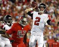 Nov 3, 2016; Tampa, FL, USA; Atlanta Falcons quarterback Matt Ryan (2) throws the ball against the Tampa Bay Buccaneers during the first half at Raymond James Stadium. Mandatory Credit: Kim Klement-USA TODAY Sports