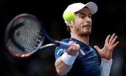 Tennis - Paris Masters tennis tournament men's singles quarterfinals - Tomas Berdych of Czech Republic v Andy Murray of Britain - Paris, France - 4/11/2016 - Murray returns the ball. REUTERS/Gonzalo Fuentes
