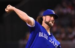 Toronto Blue Jays starting pitcher R.A. Dickey (43) pitches in the second inning of the game against the Los Angeles Angels at Angel Stadium of Anaheim. Mandatory Credit: Jayne Kamin-Oncea-USA TODAY Sports