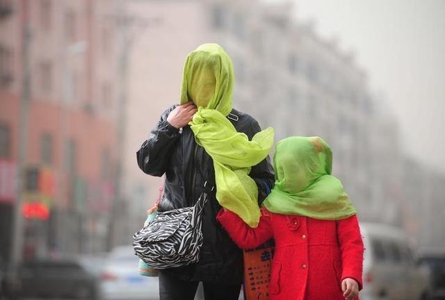 11月19日、中国国営新華社通信は、大気汚染の悪化を受け、各地の地方政府が屋外でのバーベキュー監視から工場の操業停止まで様々な対策を取っていると伝えた。写真は大気汚染のため顔を布で覆いながら歩く人々。遼寧省瀋陽市で今年3月撮影(2016年 ロイター)