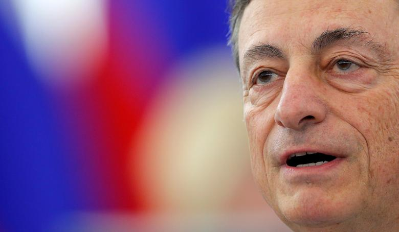 European Central Bank (ECB) President Mario Draghi addresses the European Parliament in Strasbourg, France, during a debate on the ECB annual report for 2015, November 21, 2016. REUTERS/Vincent Kessler