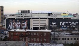 Nov 22, 2016; Detroit, MI, USA; A general view of the new Detroit Pistons and Detroit Red WIngs shared venue Little Caesars Arena from Cass Tech High School. Mandatory Credit: Raj Mehta-USA TODAY Sports