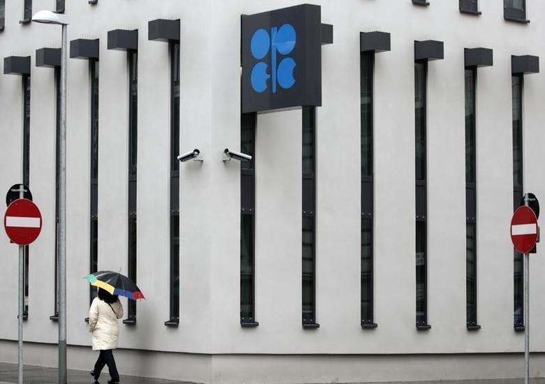 2010年3月16日,维也纳,一名撑伞的女子经过石油输出国组织(OPEC)总部大楼。REUTERS/Heinz-Peter Bader