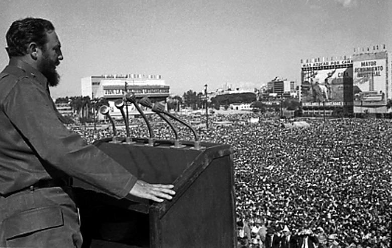 Fidel Castro addresses the crowd during an event at Revolution Square in Havana in this undated file photo. REUTERS/Prensa Latina (CUBA)