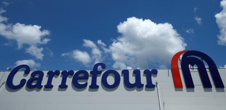 The logo of food retailer Carrefour is on display in Tbilisi, Georgia, July 13, 2016. REUTERS/David Mdzinarishvili