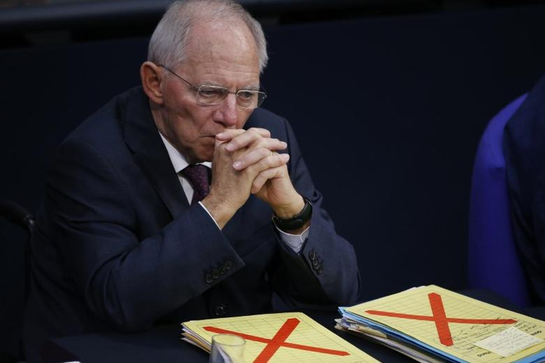 German Finance Minister Wolfgang Schaeuble attends a meeting at the lower house of parliament Bundestag on 2017 budget in Berlin, Germany, November 23, 2016. REUTERS/Fabrizio Bensch
