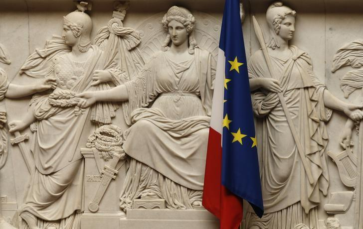 France and European flags are seen at the National Assembly, in Paris, France, June 28, 2016.    REUTERS/Jacky Naegelen