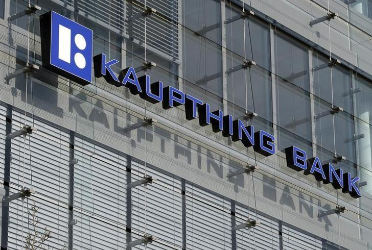 The logo of Luxembourg's Kaupthing bank is seen in Luxembourg, March 17, 2009. Luxembourg will ask banks and a Middle Eastern investor group to review the terms of an agreement to save the Luxembourg arm of crisis-hit Icelandic bank Kaupthing after the banks rejected the plan on Monday.    REUTERS/Francois Lenoir   (LUXEMBOURG BUSINESS)