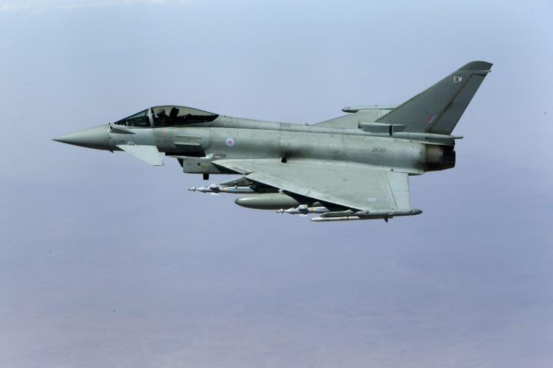 A British Royal Air Force Typhoon aircraft in flight during a mission over central Iraq September 21, 2016.   REUTERS/Petros Karadjias