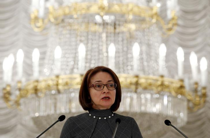 Russian central bank Governor Elvira Nabiullina speaks during a conference in Moscow, Russia, April 7, 2016. REUTERS/Sergei Karpukhin/File Photo