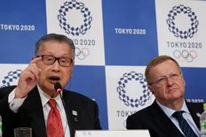 International Olympic Committee (IOC) Vice President and Chairman of the Coordination Commission for the Tokyo 2020 Games John Coates (R) and Yoshiro Mori, head of the 2020 Tokyo Olympics organising committee attend at a news conference in Tokyo, Japan, December 2, 2016. REUTERS/Kim Kyung-Hoon