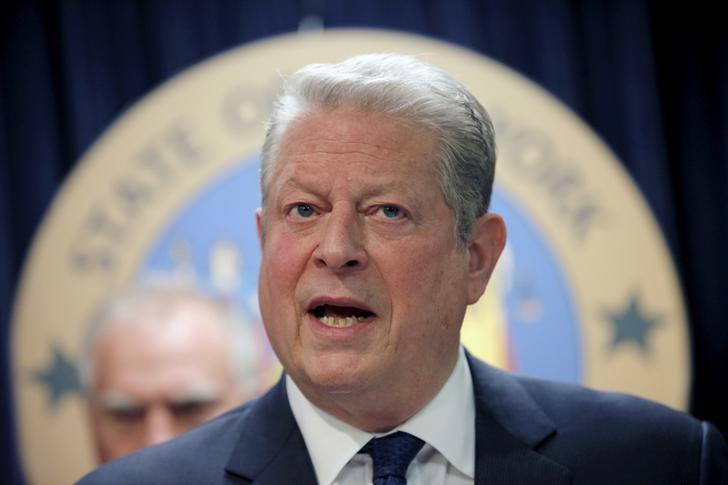 Former U.S. Vice President Al Gore speaks at a news conference with a gathering of U.S. State Attorney's General to announce a state-based effort to combat climate change in the Manhattan borough of New York City, March 29, 2016. REUTERS/Mike Segar/Files