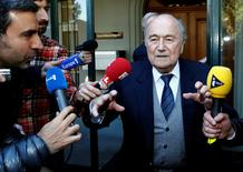 Former FIFA President Sepp Blatter is seen leaving the Court of Arbitration for Sport (CAS) in this file picture taken in Lausanne, Switzerland April 29, 2016. REUTERS/Denis Balibouse/File Photo