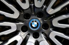 View of a BMW logo on a wheel at the Mondial de l'Automobile, Paris auto show, during media day in Paris, September 30, 2016. REUTERS/Jacky Naegelen