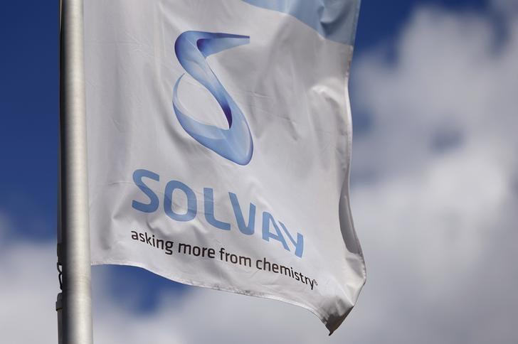 A flag with the logo of Belgian chemical group Solvay is pictured at its headquarters in Brussels, Belgium, July 29, 2015.     REUTERS/Francois Lenoir
