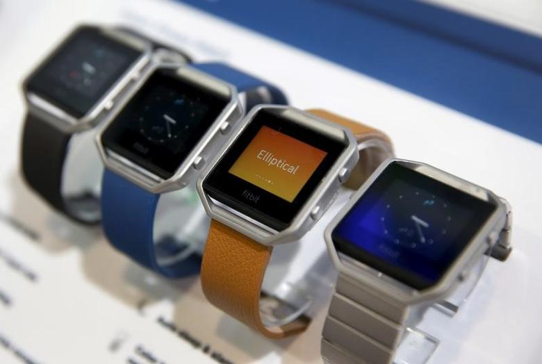 Fitbit Blaze watches are displayed during the 2016 CES trade show in Las Vegas, Nevada January 6, 2016. REUTERS/Steve Marcus