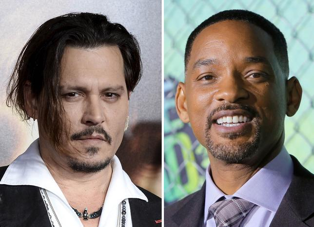 A combination photo showing actors Johnny Depp (L) posing during premiere of ''The Danish Girl'' in Los Angeles, California, November 21, 2015 and Will Smith attending the premiere of the film ''Suicide Squad'' in New York, August 1, 2016.  REUTERS/Kevork Djansezian, Andrew Kelly/File Photos