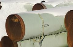 File Photo: A depot used to store pipes for Transcanada Corp's planned Keystone XL oil pipeline is seen in Gascoyne, North Dakota November 14, 2014.   REUTERS/Andrew Cullen