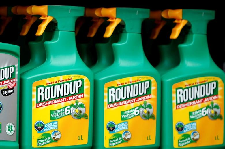Monsanto's Roundup weedkiller atomizers are displayed for sale at a garden shop at Bonneuil-Sur-Marne near Paris, France, June 16, 2015.   REUTERS/Charles Platiau/File Photo - RTX2QEAC