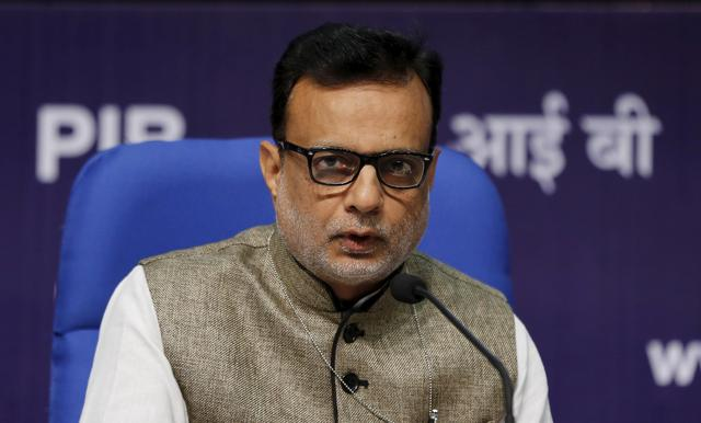 India's Financial Services Secretary Hasmukh Adhia answers a question during a news conference in New Delhi, India, August 14, 2015.  REUTERS/Adnan Abidi/File Photo