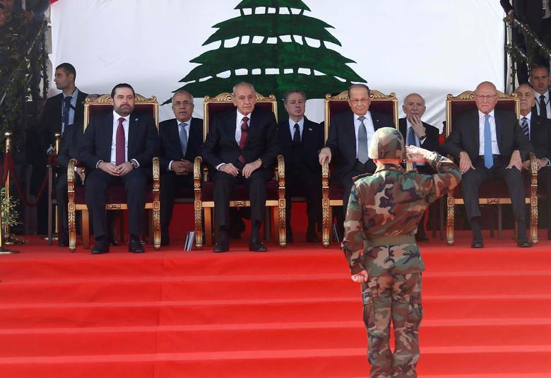 Lebanon's Prime Minister-designate Saad al-Hariri, parliamentary speaker Nabih Berri, President Michel Aoun and former Prime Minister Tammam Salam attend a military parade to celebrate the 73rd anniversary of Lebanon's independence in downtown Beirut, Lebanon November 22, 2016. REUTERS/Mohamed Azakir