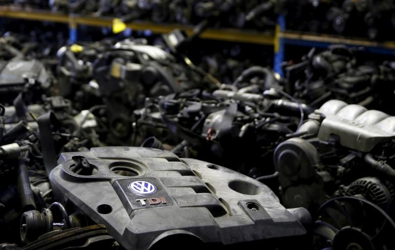Volkswagen TDI diesel engines are seen in this photo illustration of second-hand car parts in Jelah, Bosnia and Herzegovina, September 26, 2015. REUTERS/Dado Ruvic/File Photo
