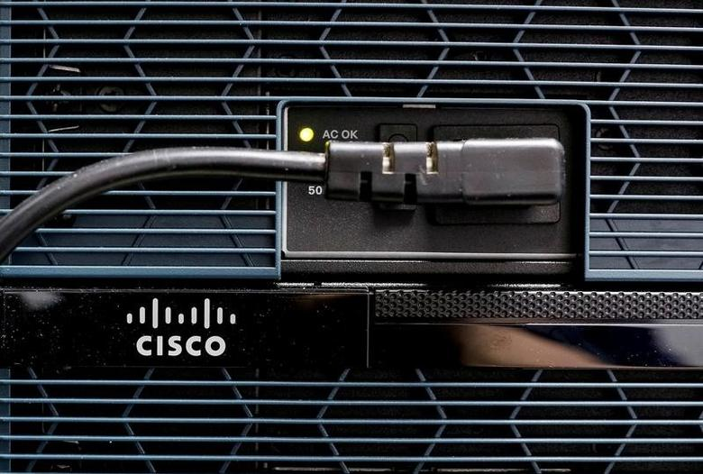 A Cisco logo is seen at the router in Kiev, Ukraine April 21, 2016. REUTERS/Gleb Garanich/File Photo - RTX2KVEV