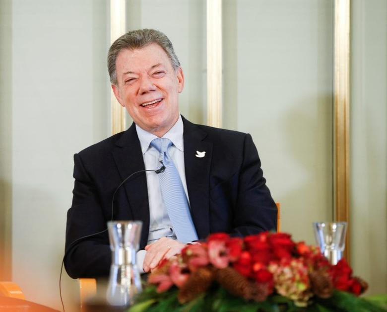 Nobel Peace Prize laureate Colombian President Juan Manuel Santos speaks during a news conference at the Norwegian Nobel Institute in Oslo, Norway, December 9, 2016. NTB Scanpix/Terje Pedersen via REUTERS