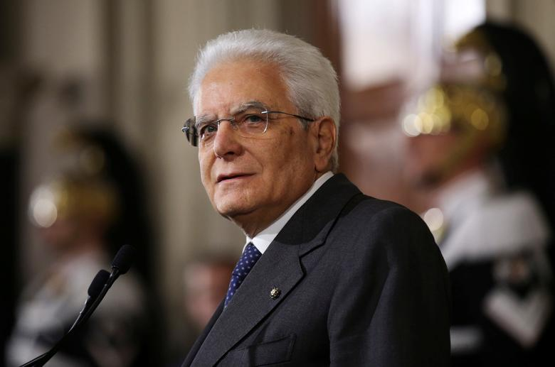 Italian President Sergio Mattarella leaves at the end of his consultations at the Quirinale Palace in Rome, Italy, December 10, 2016.   REUTERS/Alessandro Bianchi