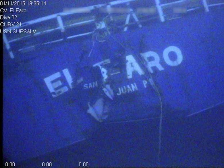 The stern of the El Faro is shown on the ocean floor taken from an underwater video camera on November 1, 2015. Courtesy National Transportation Safety Board/Handout via REUTERS