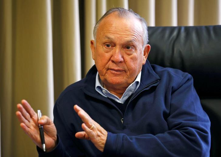 South African magnate Christo Wiese, whose companies include Steinhoff and investment heavyweight Brait, gestures during an interview in Cape Town, South Africa, September 27, 2016. Picture taken September 27, 2016.  REUTERS/Mike Hutchings/Files