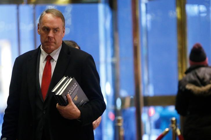 U.S. Representative Ryan Zinke (R-MT) arrives for a meeting with U.S. President-elect Donald Trump at Trump Tower in Manhattan, New York City, U.S., December 12, 2016.  REUTERS/Brendan McDermid/Files